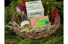 Amalthia Pflege Produkte in unserem handgefertigten Geschenkkorb
